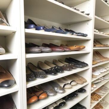 Adjustable shoe shelves and storage